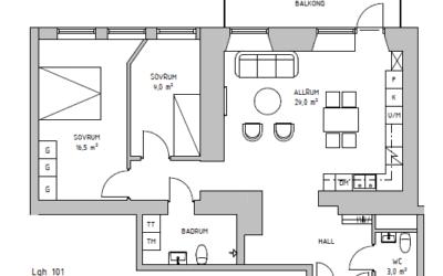 Två nyproducerade lägenheter på Brahegatan 51 i Gränna